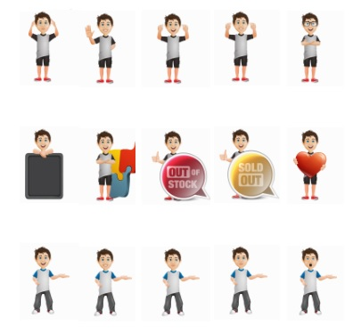 Elite Mascot Boy Creator in editable PSD Format with PNG samples
